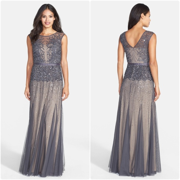 4d4bcb0402 Adrianna Papell Beaded Chiffon Gown